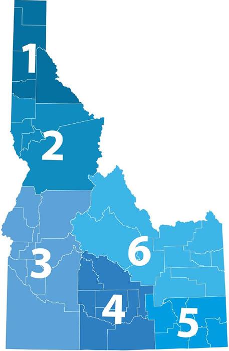 map of Idaho schools by region